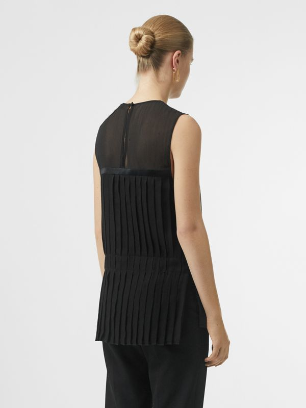 Sleeveless Pleated Silk Georgette Top in Black - Women | Burberry - cell image 2