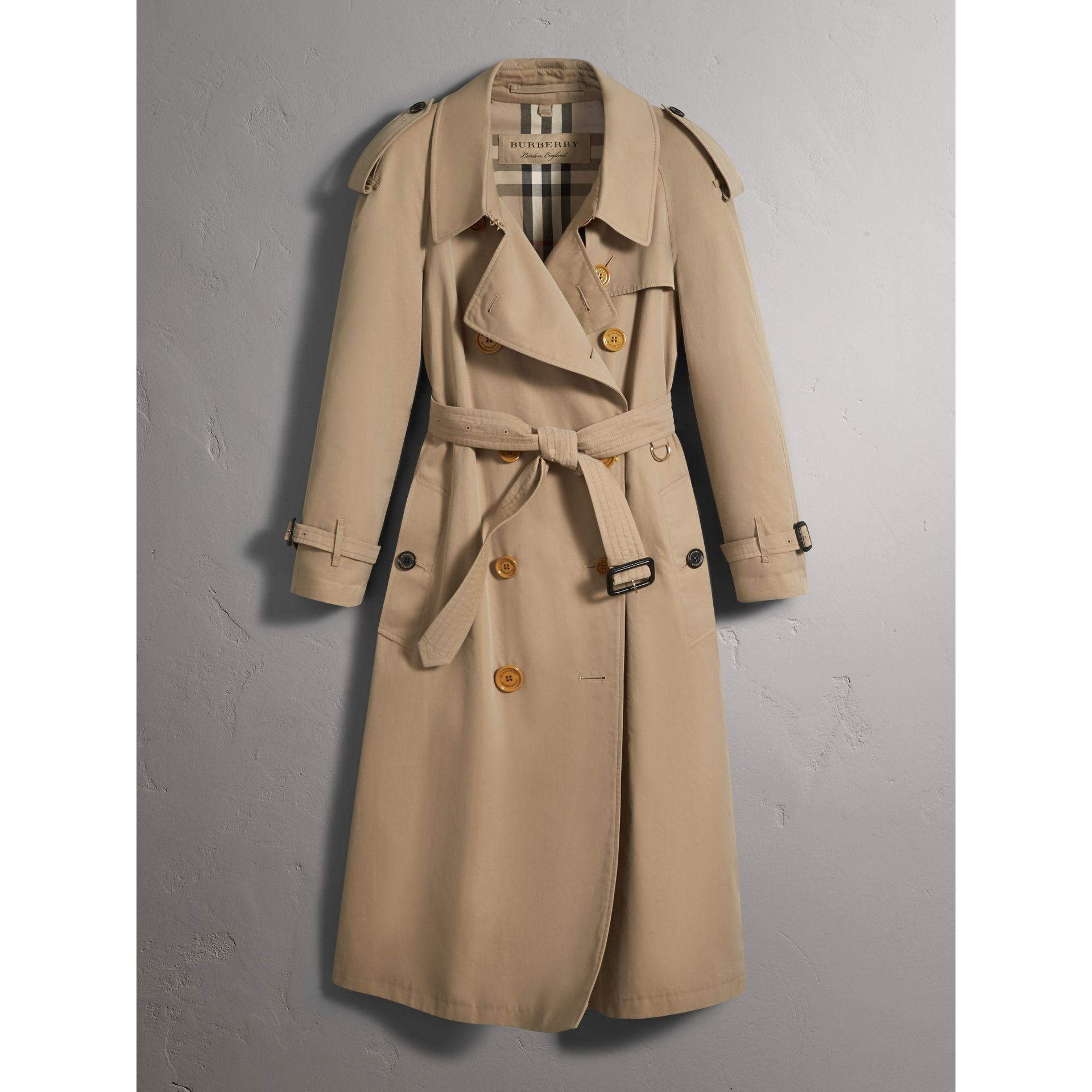 Resin Button Cotton Gabardine Oversize Trench Coat in Honey - Women | Burberry - gallery image 3