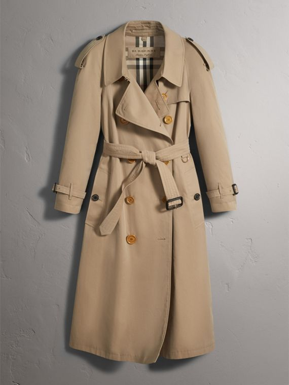 Resin Button Cotton Gabardine Oversize Trench Coat in Honey - Women | Burberry - cell image 2