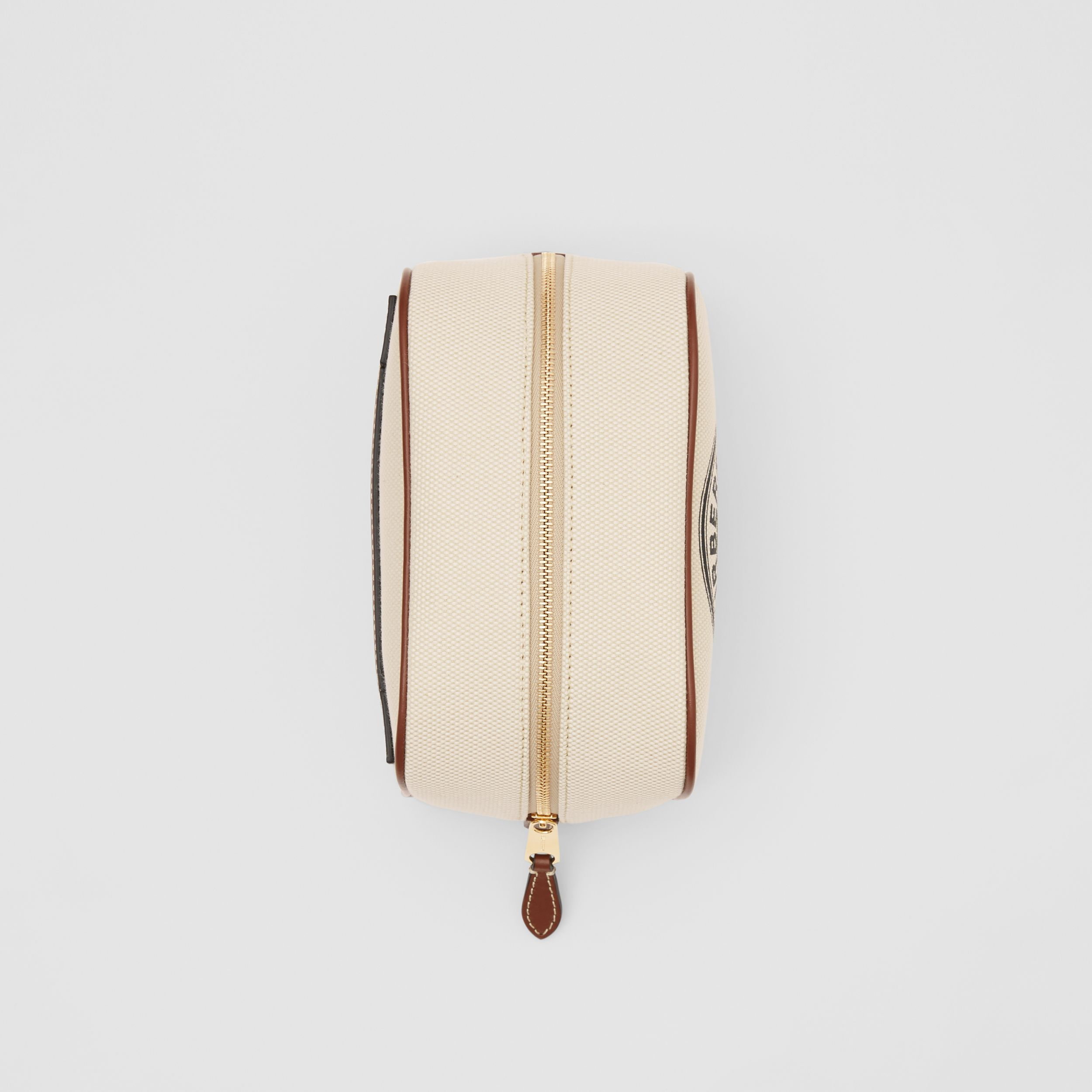 Small Logo Graphic Cotton Canvas Travel Pouch in White/tan - Women | Burberry Hong Kong S.A.R. - 4