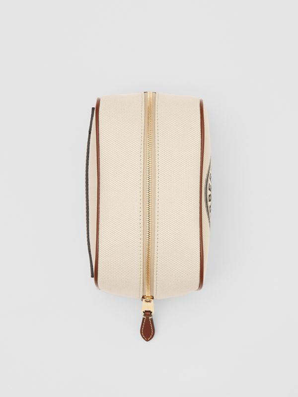 Small Logo Graphic Cotton Canvas Travel Pouch in White/tan - Women | Burberry United Kingdom - cell image 3