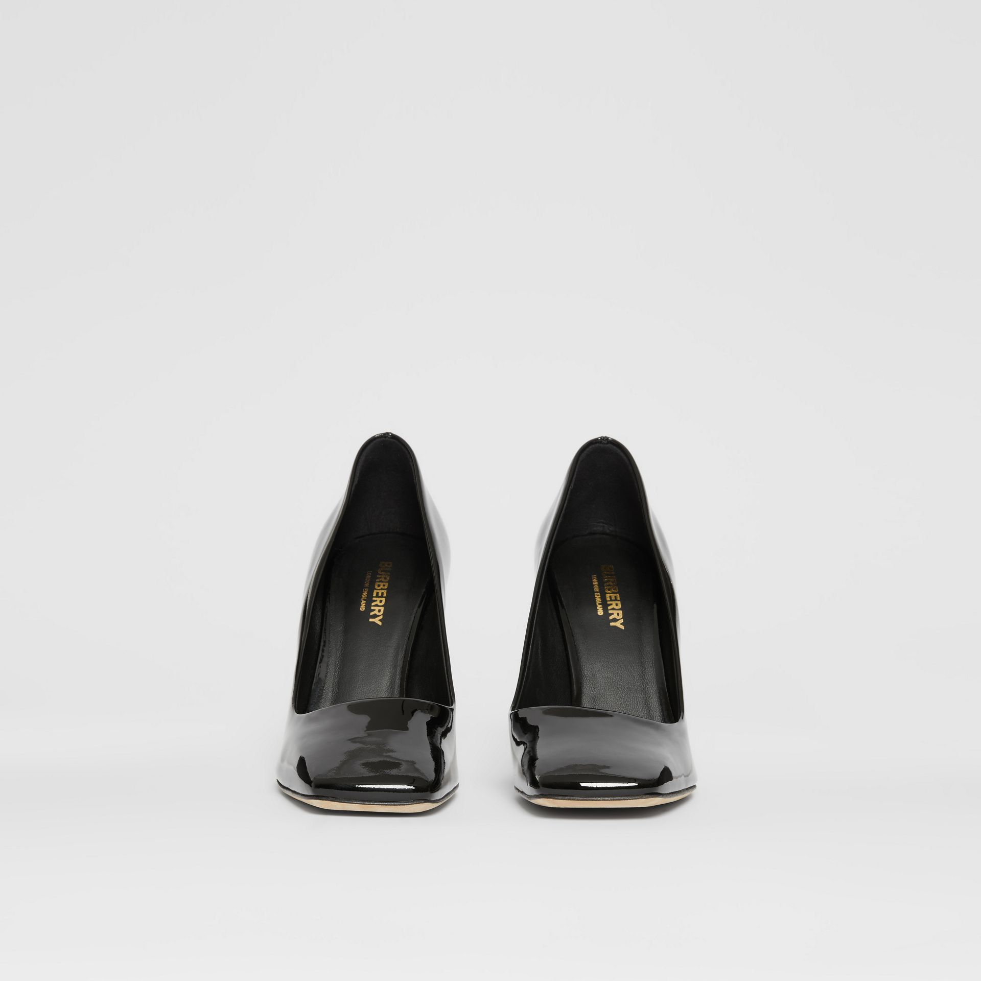 D-ring Detail Patent Leather Square-toe Pumps in Black - Women | Burberry United Kingdom - gallery image 3