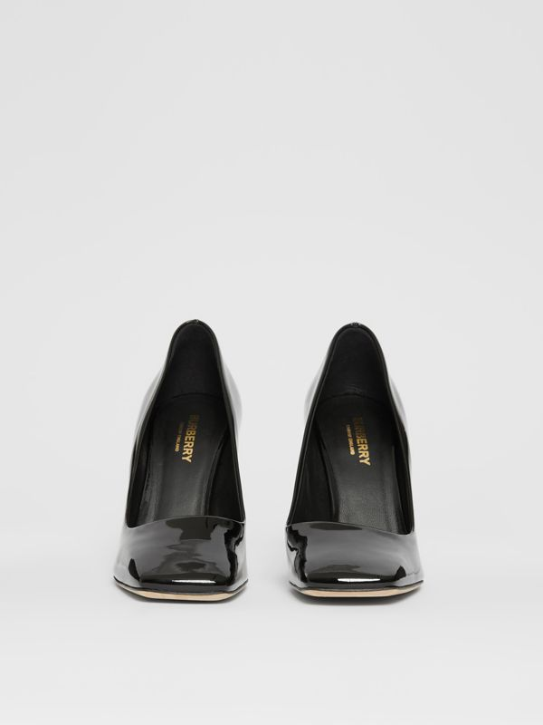 D-ring Detail Patent Leather Square-toe Pumps in Black - Women | Burberry - cell image 3