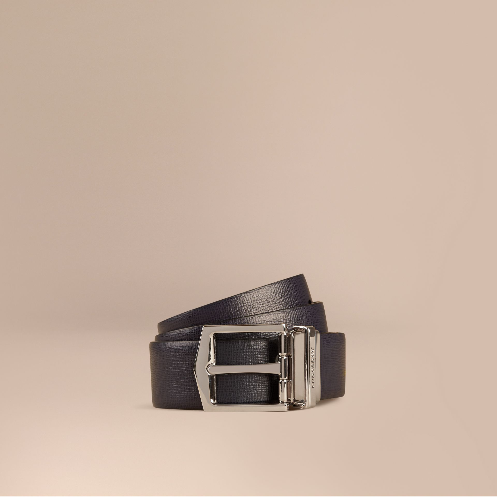 Reversible London Leather Belt in Dark Navy/black - gallery image 1