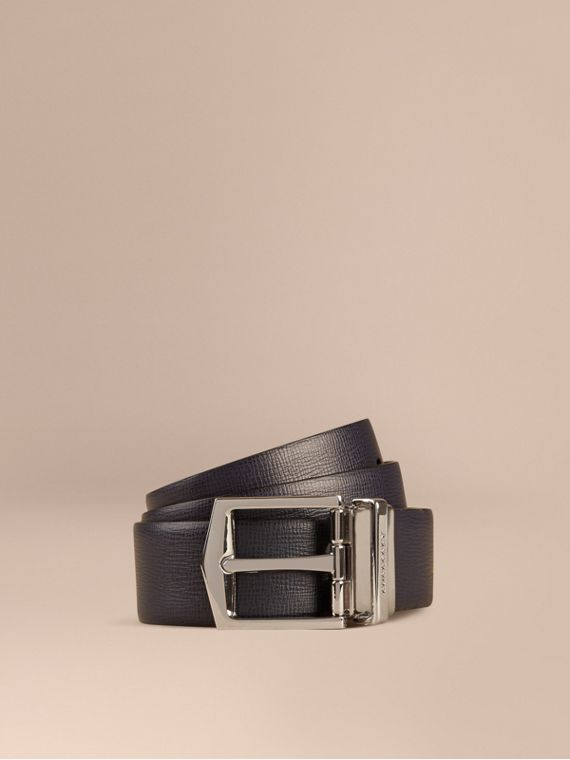Cintura double face in pelle London Navy Scuro/nero