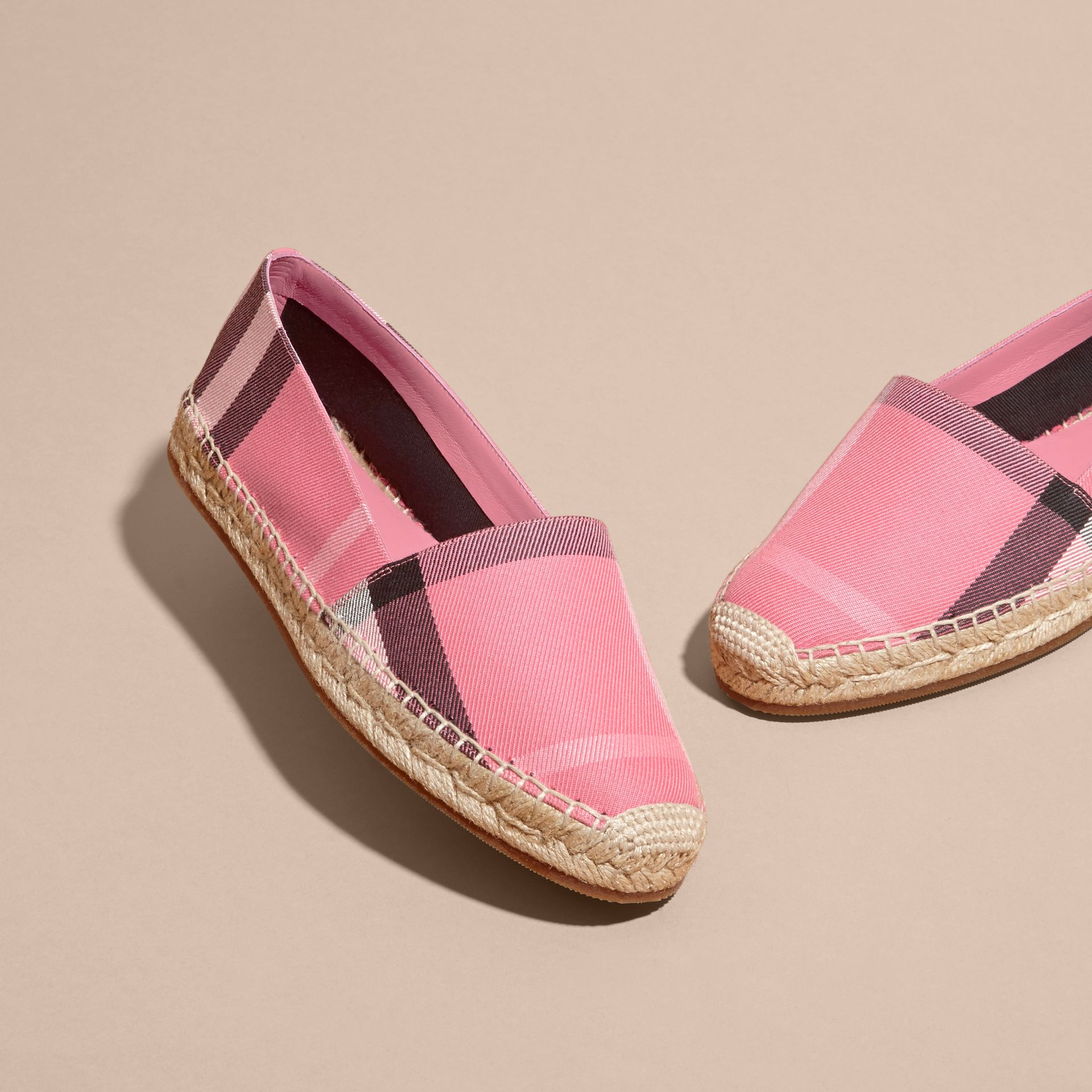 Leather Trim Canvas Check Espadrilles Rose Pink - gallery image 3