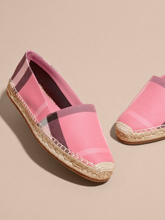 Leather Trim Canvas Check Espadrilles Rose Pink - cell image 2