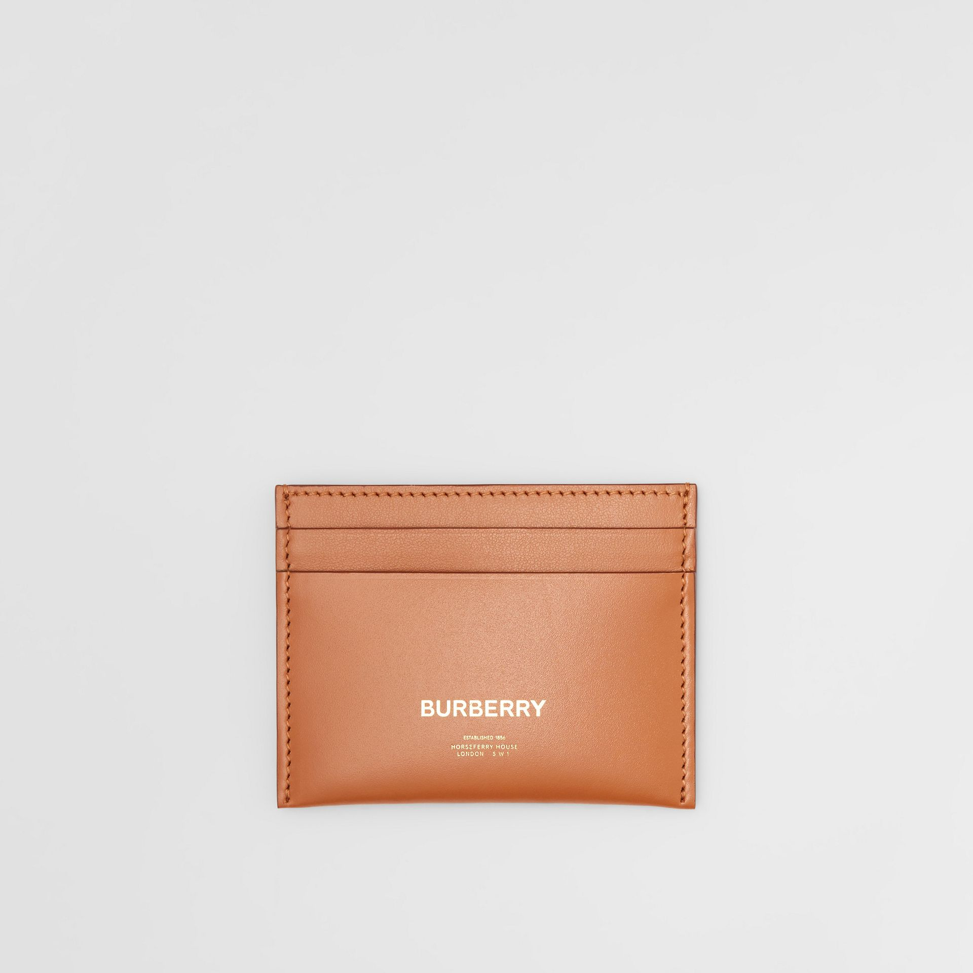 Horseferry Print Leather Card Case in Nutmeg | Burberry - gallery image 0