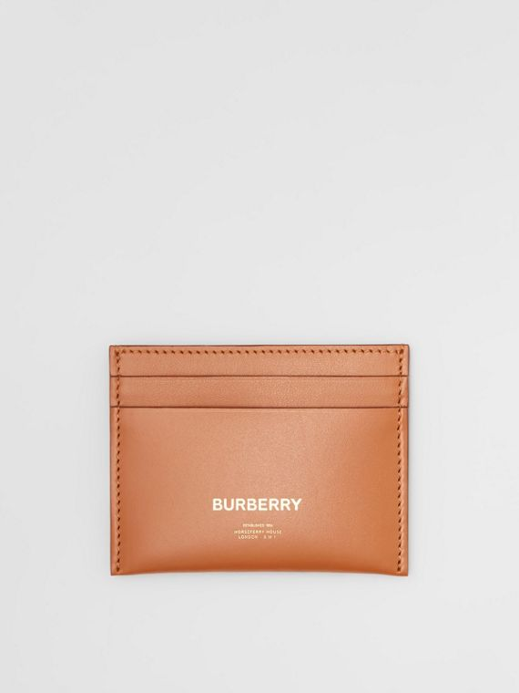 Horseferry Print Leather Card Case in Nutmeg