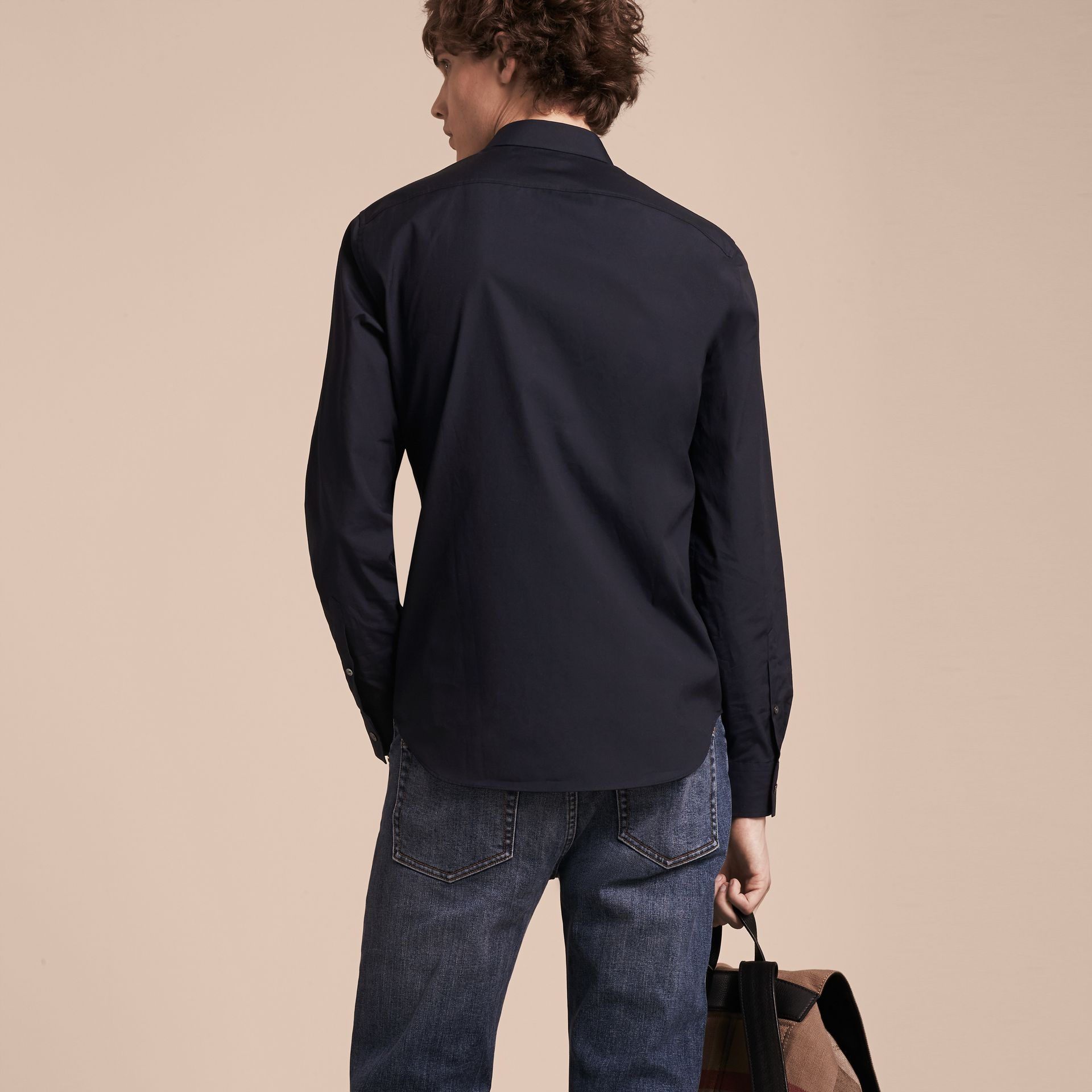 Check Detail Stretch Cotton Shirt Navy - gallery image 3