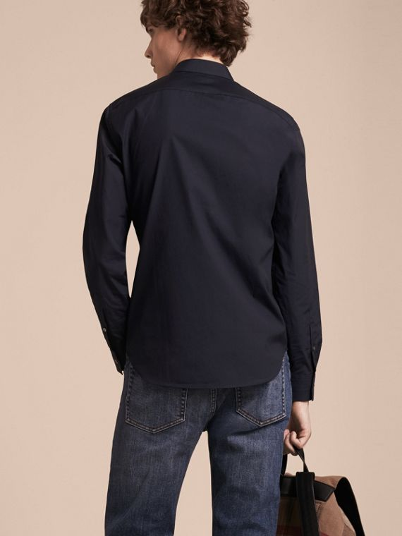 Navy Camicia in cotone stretch con dettagli con motivo check Navy - cell image 2