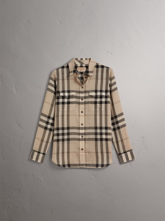 Check Cotton Shirt in Chino - Women | Burberry - cell image 3