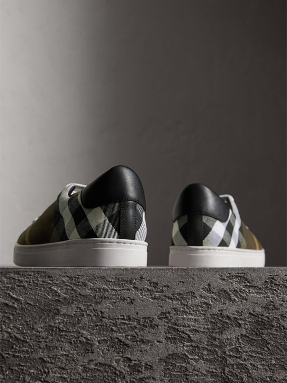 Overdyed House Check Cotton Trainers in Dark Military Green/black - Men | Burberry - cell image 2