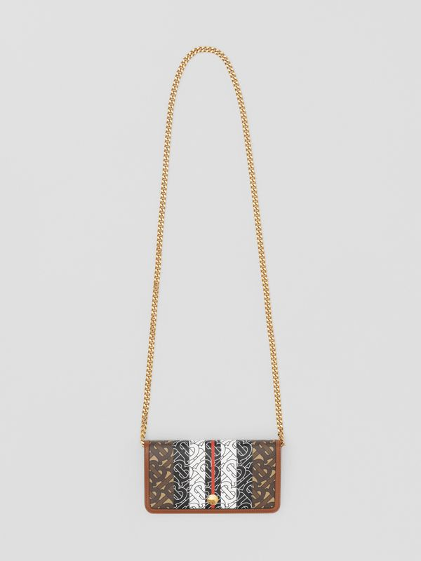 Monogram Stripe E-canvas Phone Wallet with Strap in Bridle Brown - Women | Burberry United Kingdom - cell image 2
