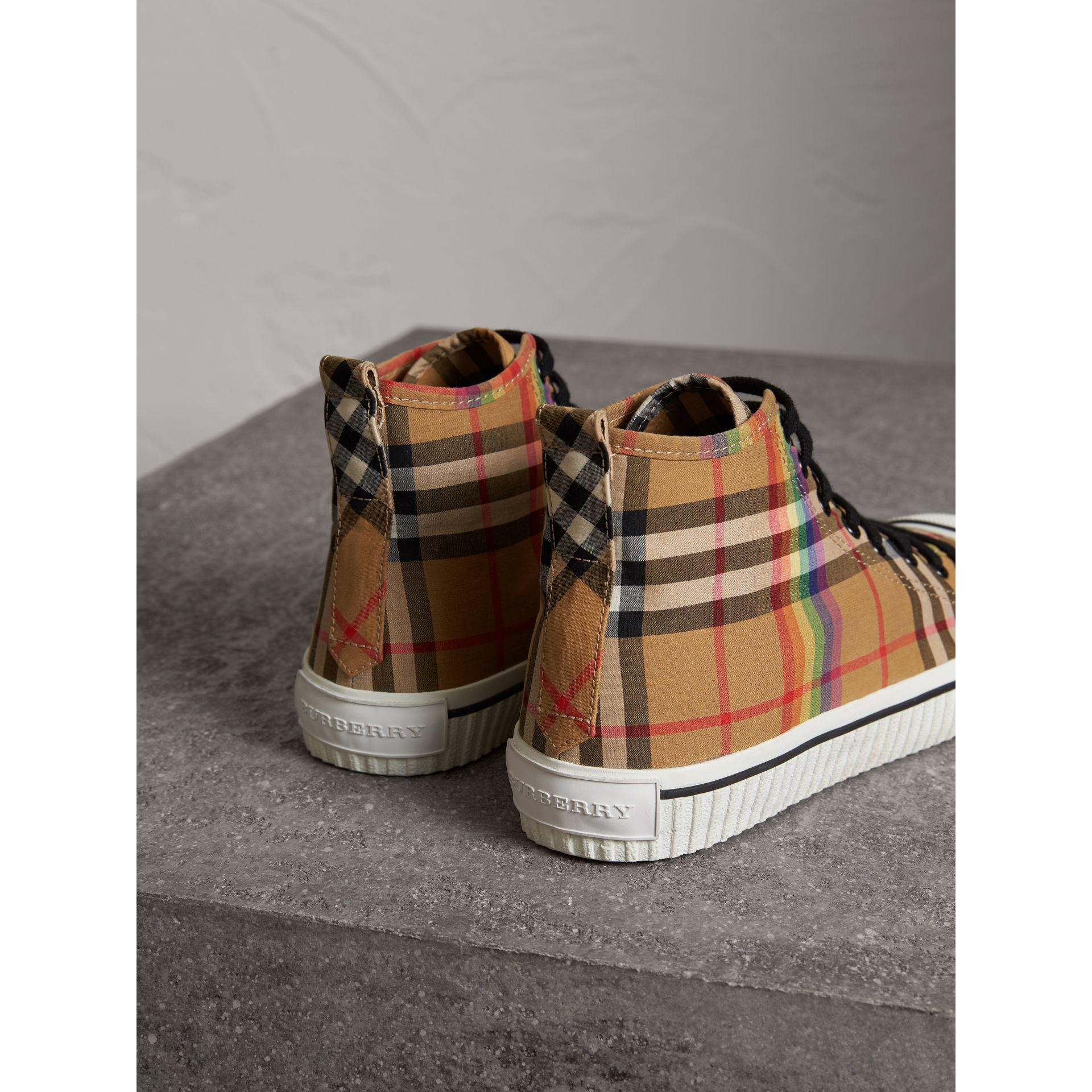 Rainbow Vintage Check High-top Sneakers in Antique Yellow - Men | Burberry Singapore - gallery image 3