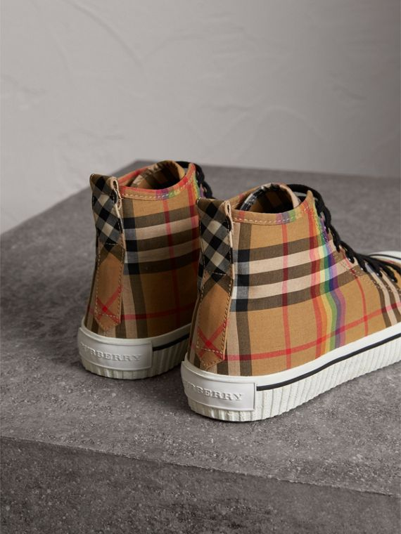 Rainbow Vintage Check High-top Sneakers in Antique Yellow - Men | Burberry Singapore - cell image 3