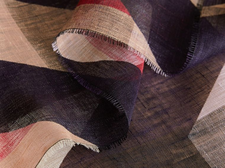 Lightweight Stripe Print Check Linen Scarf in Navy/camel - Men | Burberry - cell image 1