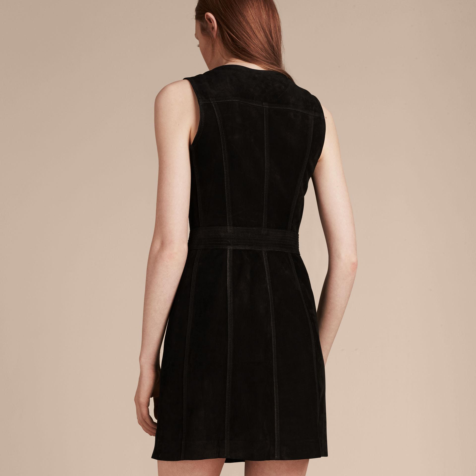 Black Nubuck Zip-front Dress - gallery image 3