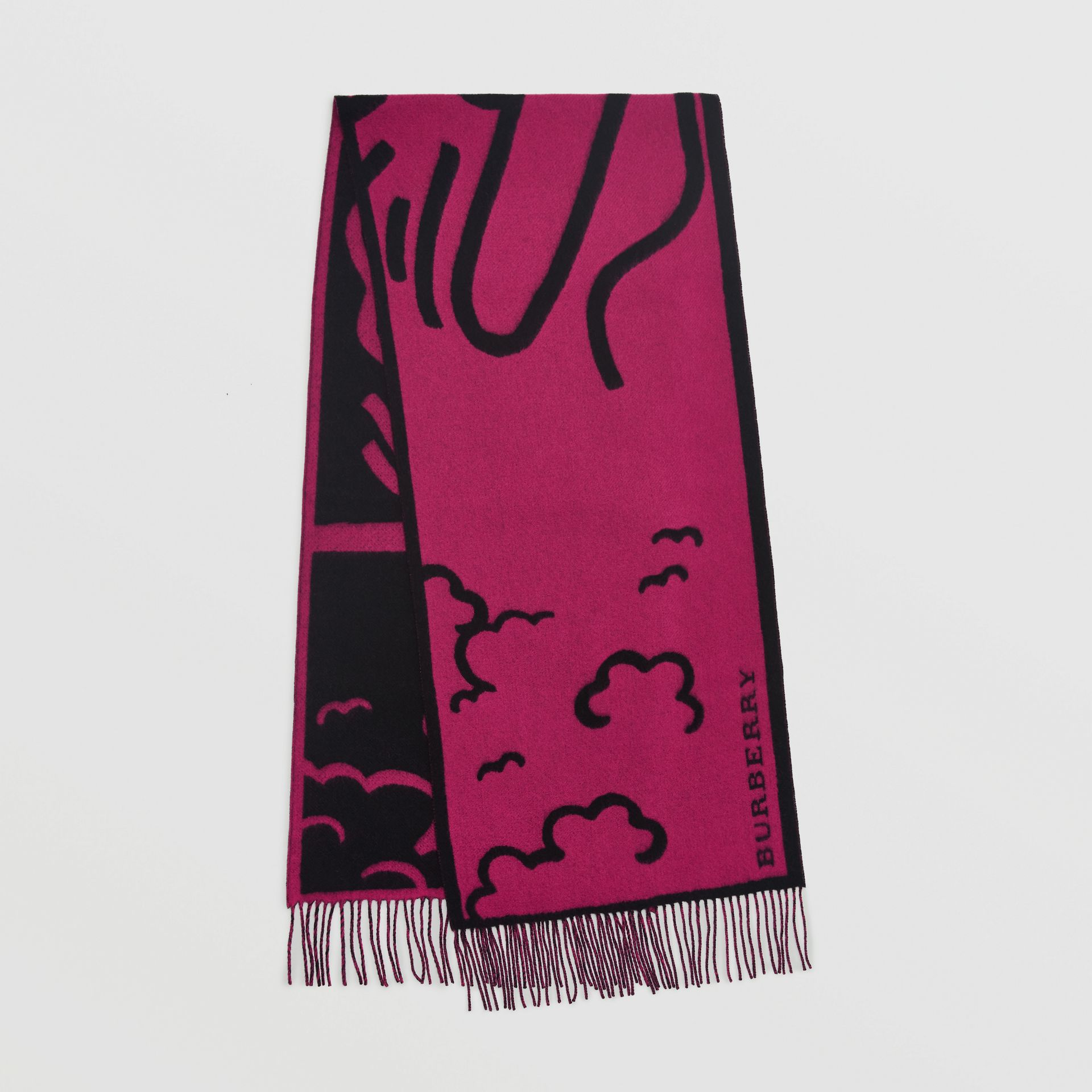 London Street Art Wool Cashmere Jacquard Scarf in Plum Pink | Burberry - gallery image 0