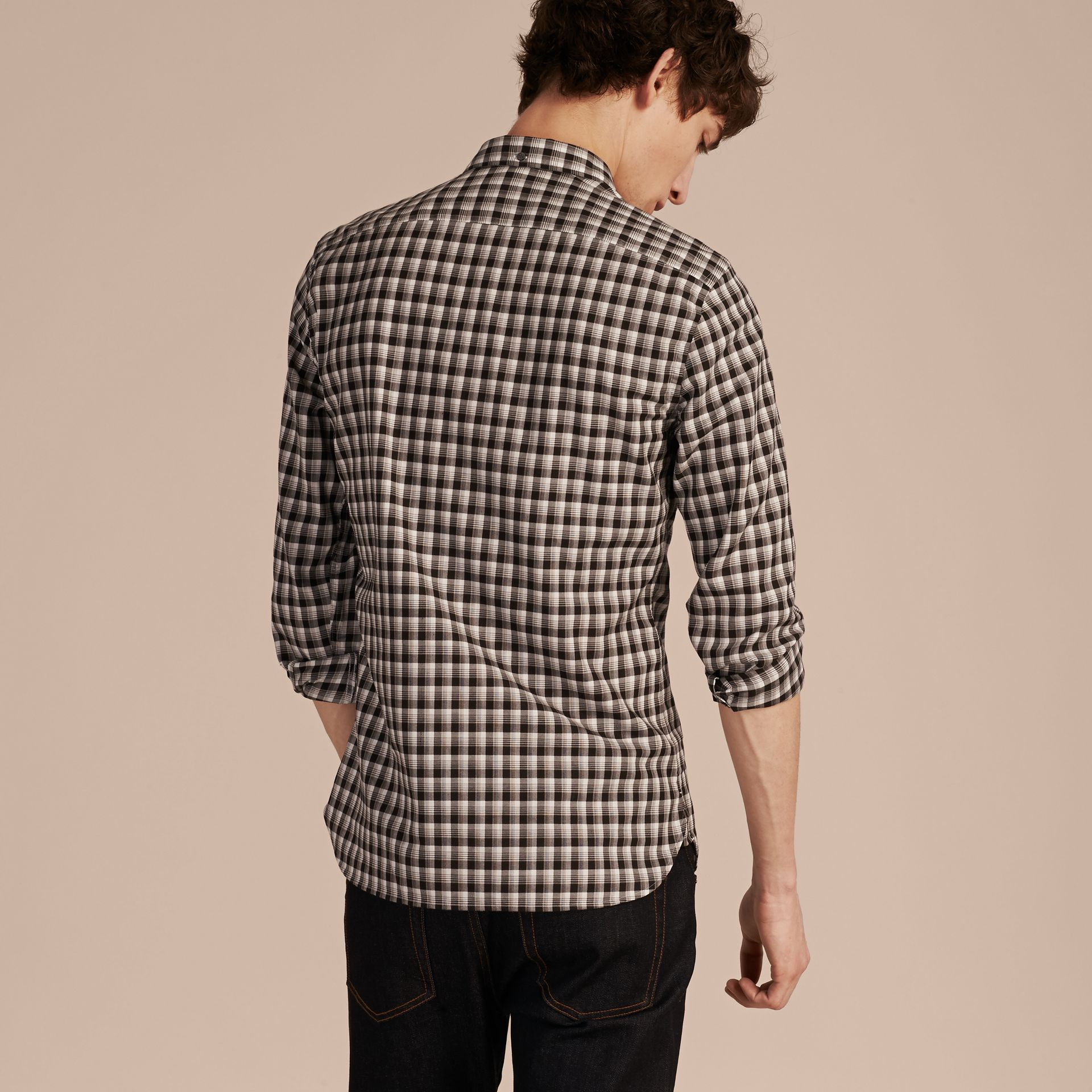 Black Gingham Check Cotton Twill Shirt Black - gallery image 3