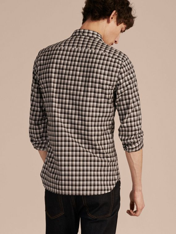 Black Gingham Check Cotton Twill Shirt Black - cell image 2