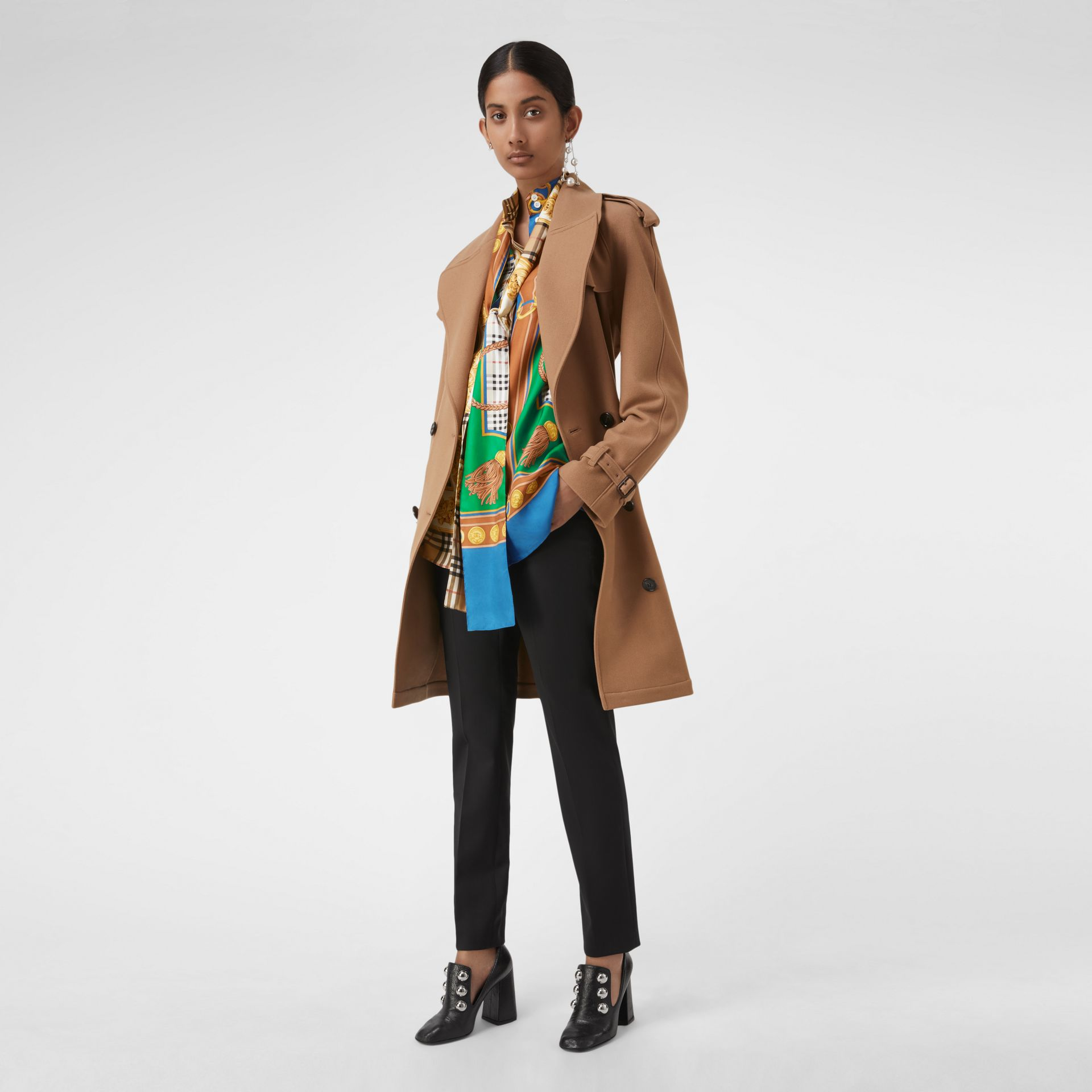Archive Scarf Print Silk Tie-neck Shirt in Multicolour - Women | Burberry - gallery image 3