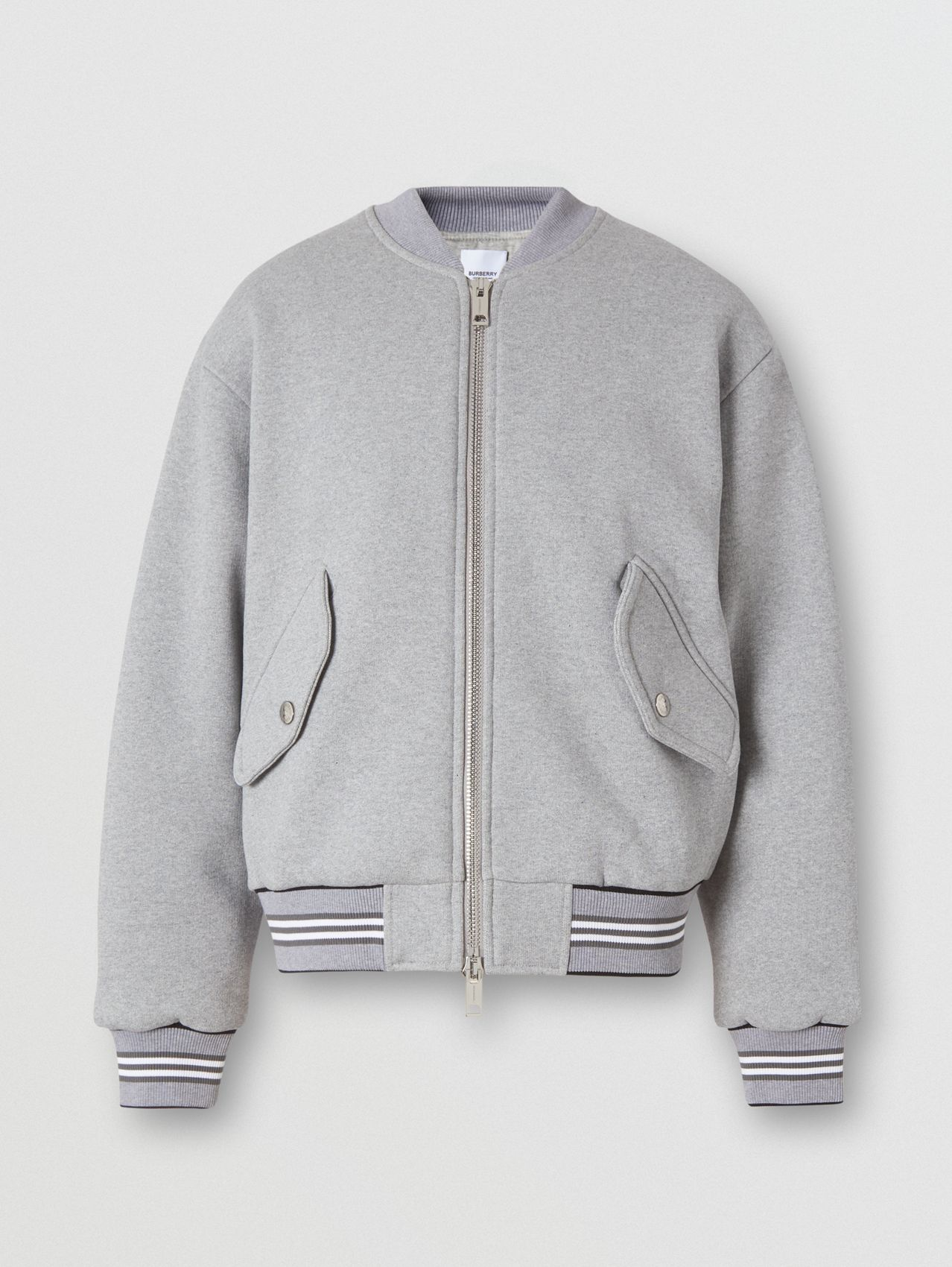 Icon Stripe Trim Jersey Bomber Jacket in Grey Melange