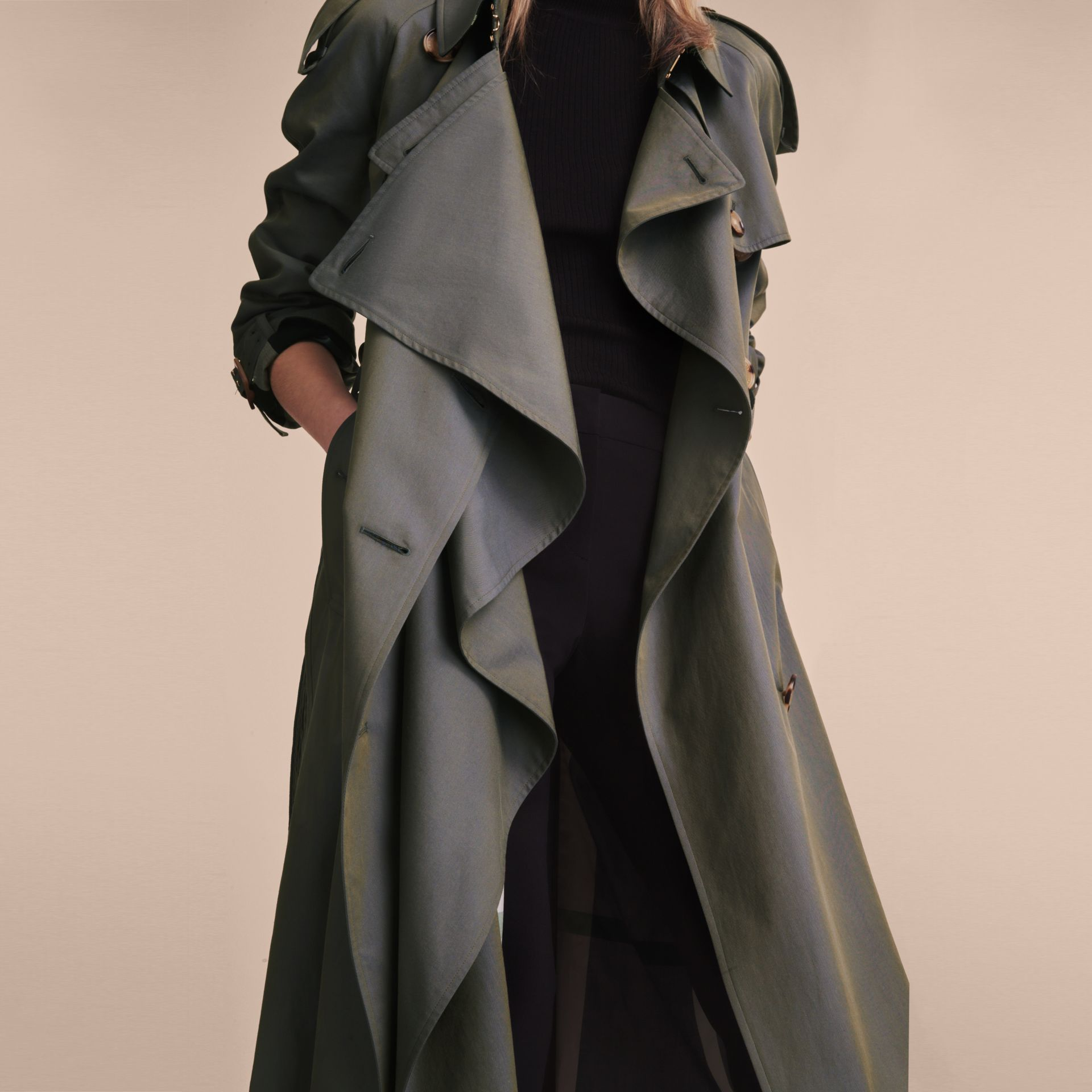 Storm blue Tropical Gabardine Trench Coat - gallery image 6