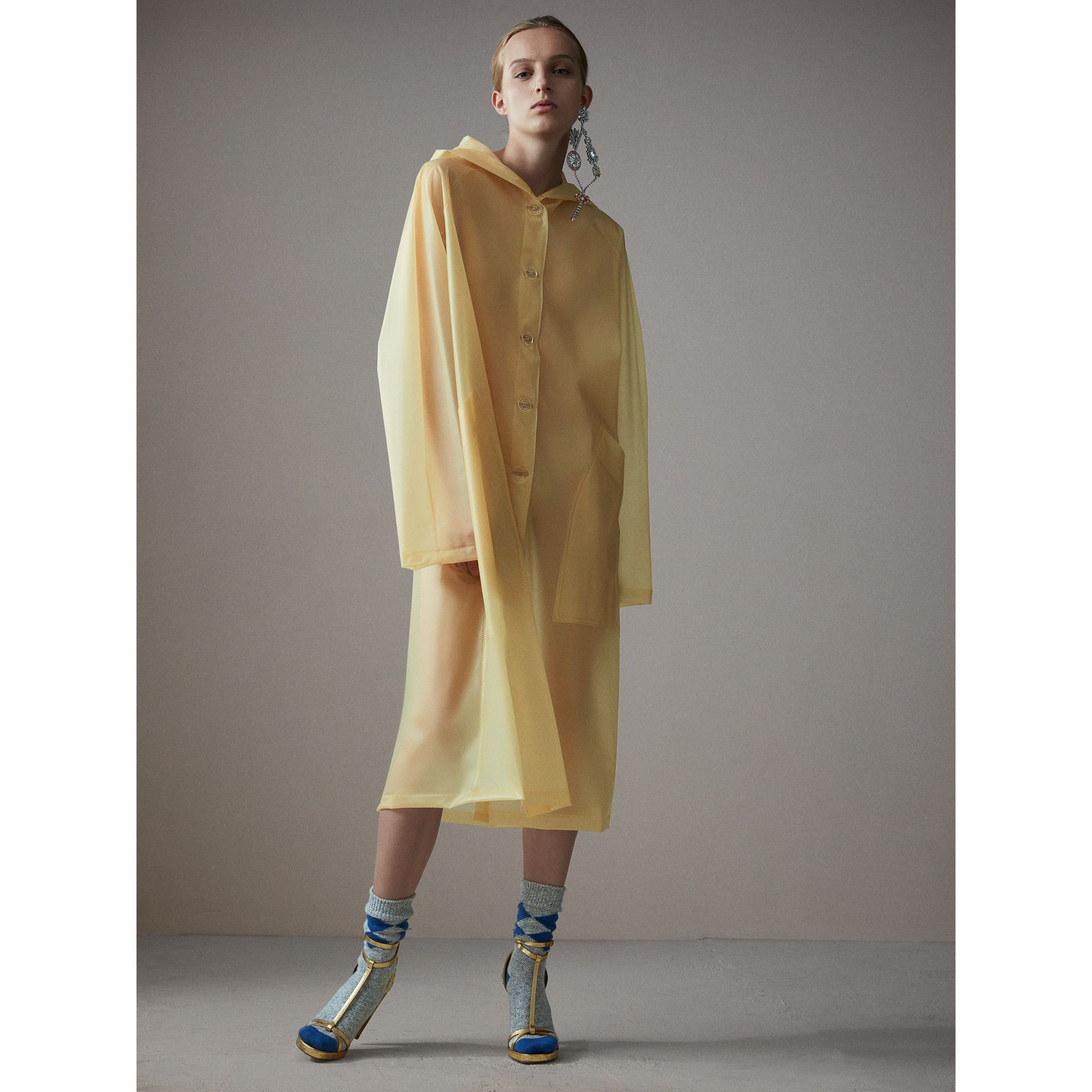 Soft-touch Plastic Hooded Car Coat in Antique Yellow - Women | Burberry - gallery image 0