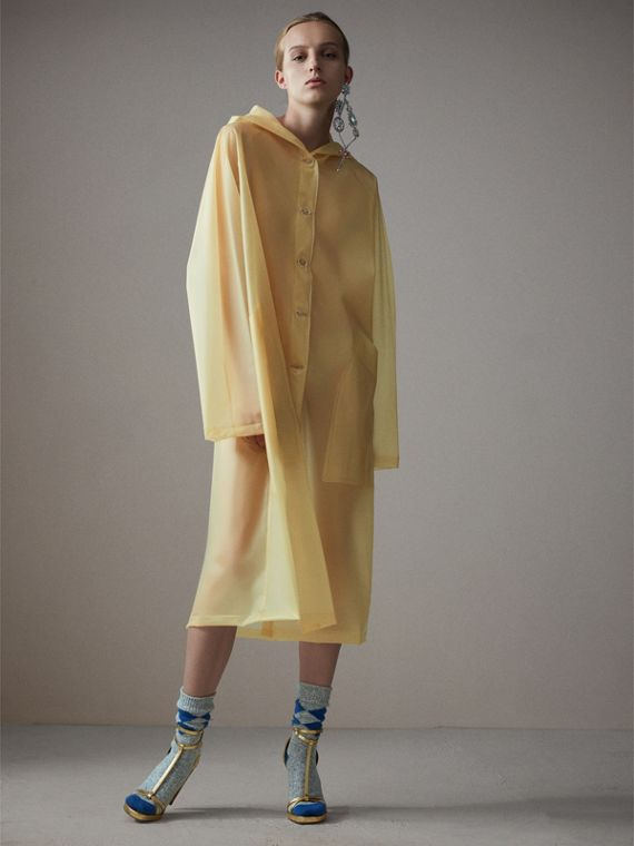 Soft-touch Plastic Hooded Car Coat in Antique Yellow