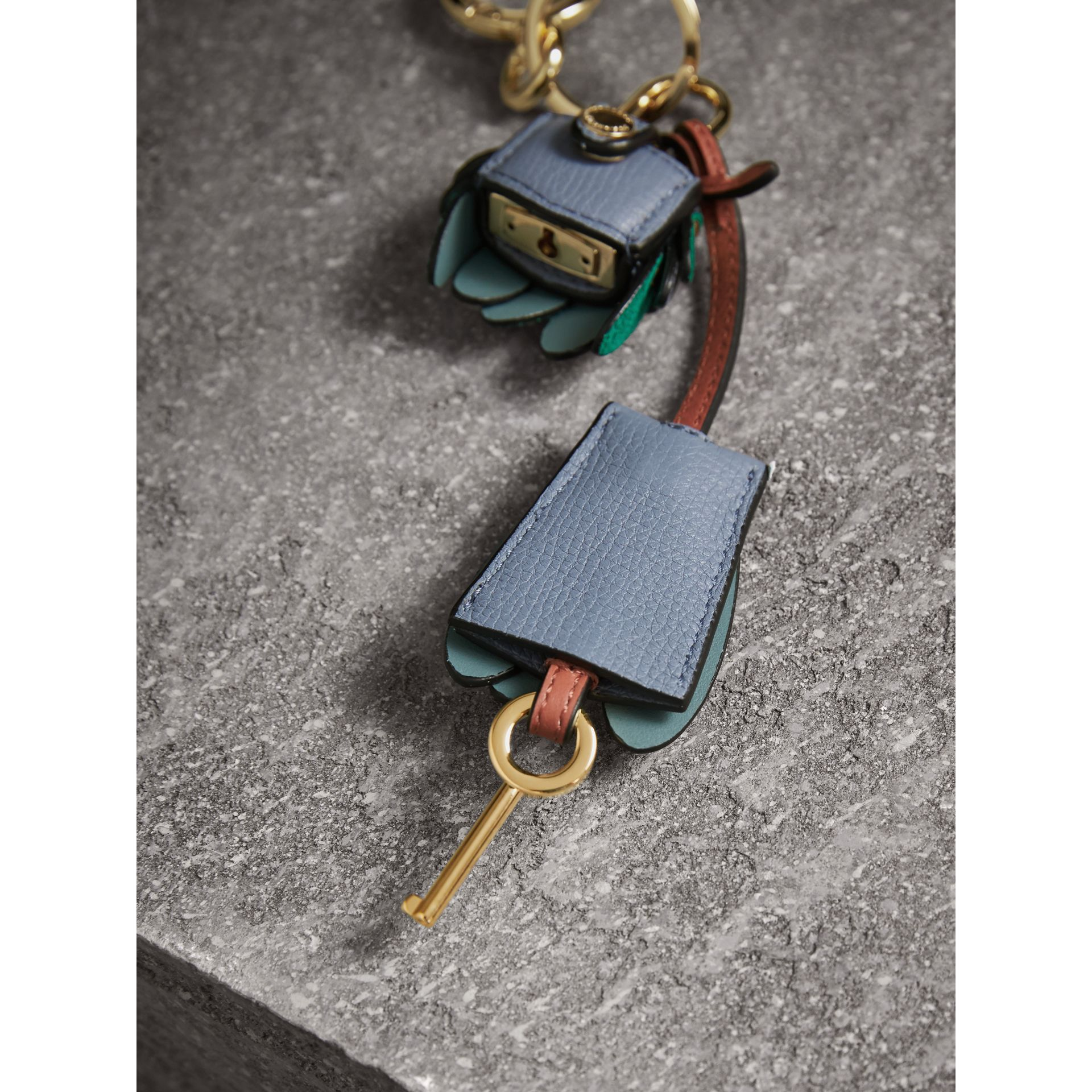 Beasts Leather Key Charm and Padlock in Teal Blue - Women | Burberry - gallery image 3