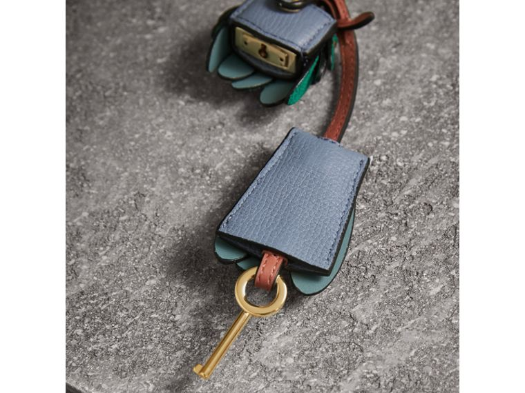 Beasts Leather Key Charm and Padlock in Teal Blue - Women | Burberry - cell image 2