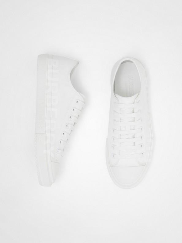 Women's Logo Print Cotton Gabardine Sneakers in Optic White