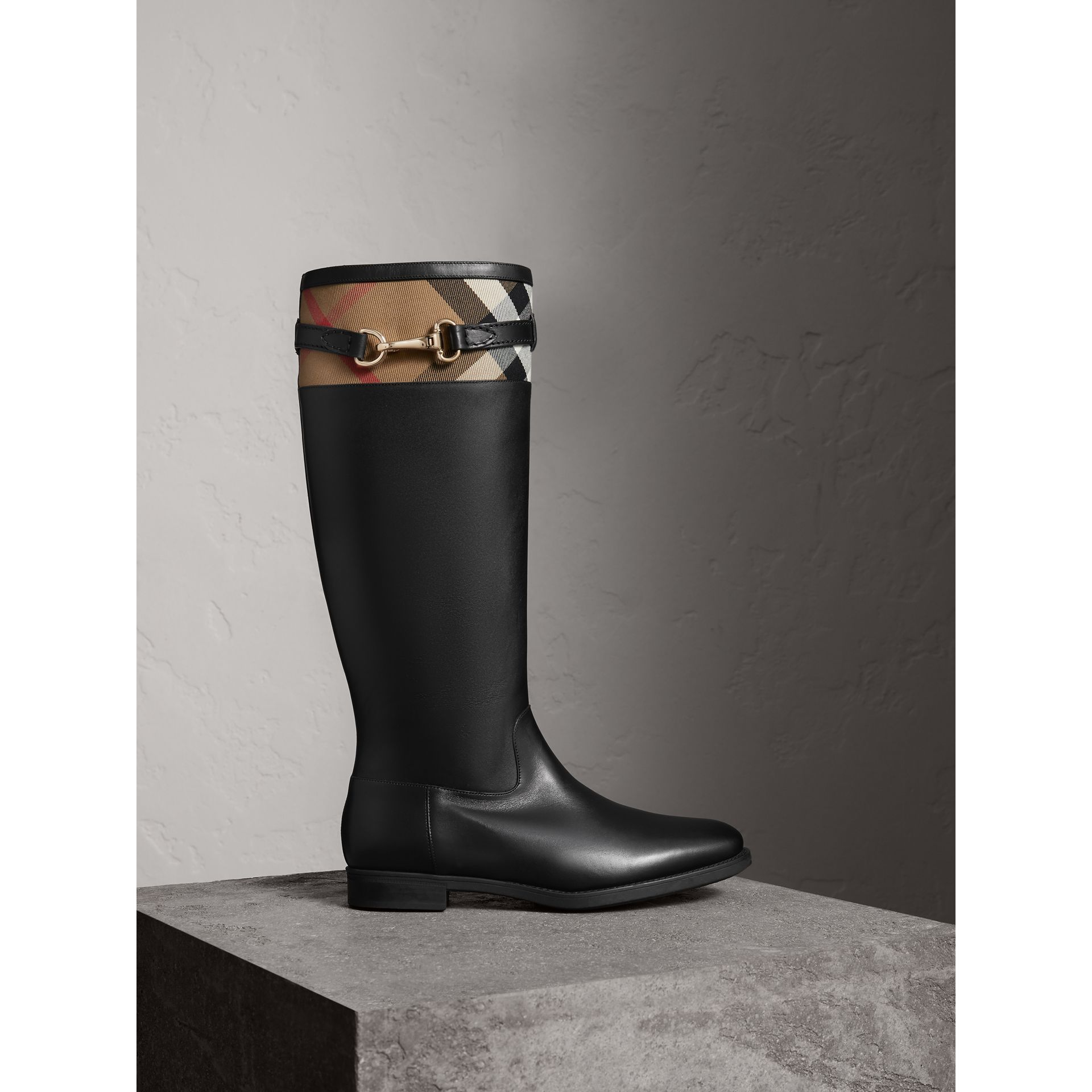 House Check Detail Riding Boots in Black - Women | Burberry United Kingdom - gallery image 1