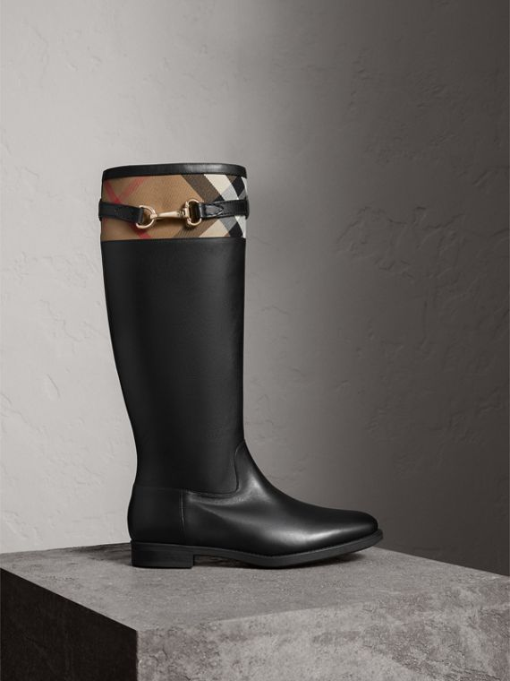 House Check Detail Riding Boots in Black