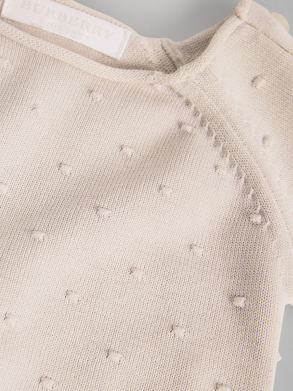 Bobble Knit Cotton Two-piece Baby Gift Set in Stone - Children | Burberry - cell image 1