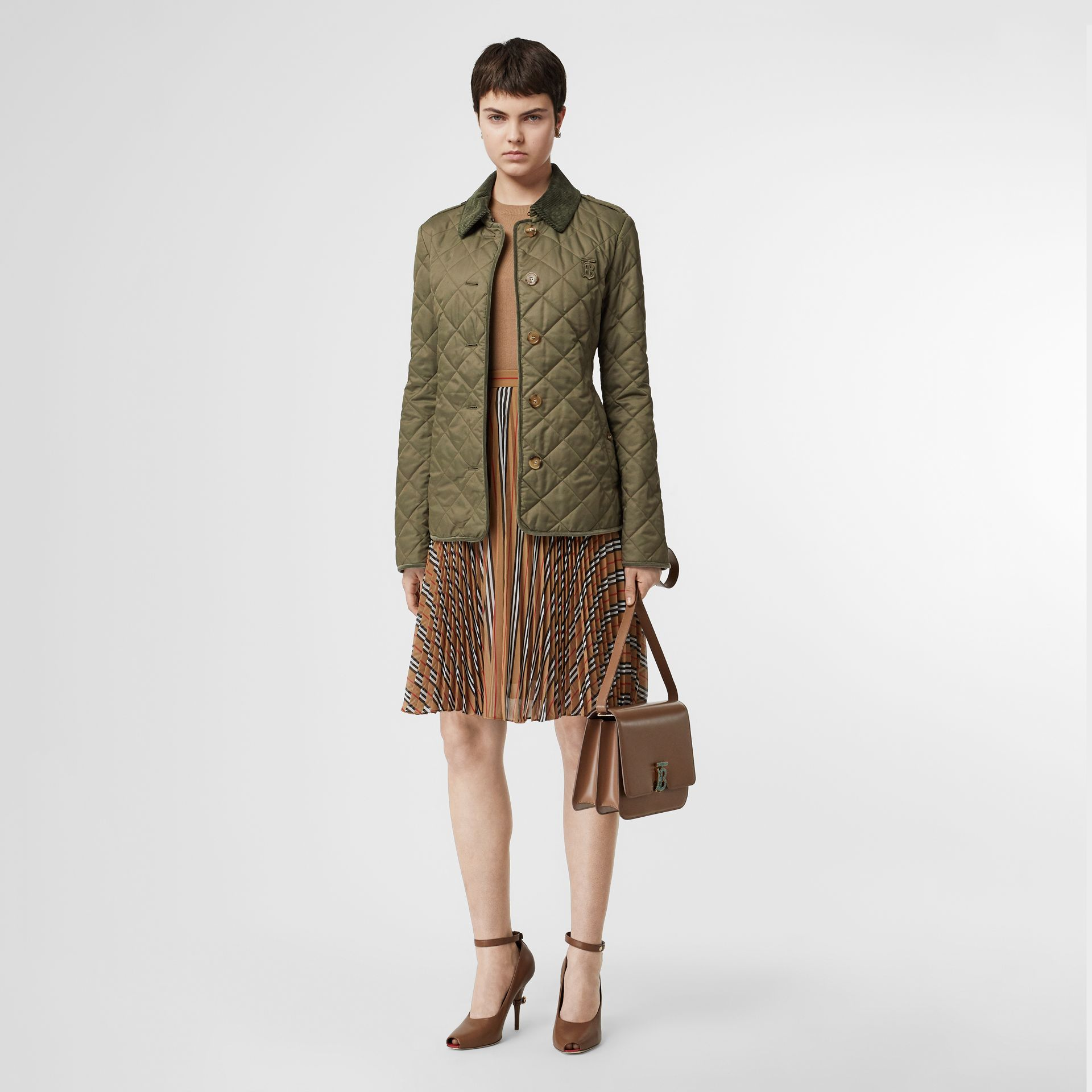 Monogram Motif Diamond Quilted Jacket in Olive Green - Women | Burberry - gallery image 0