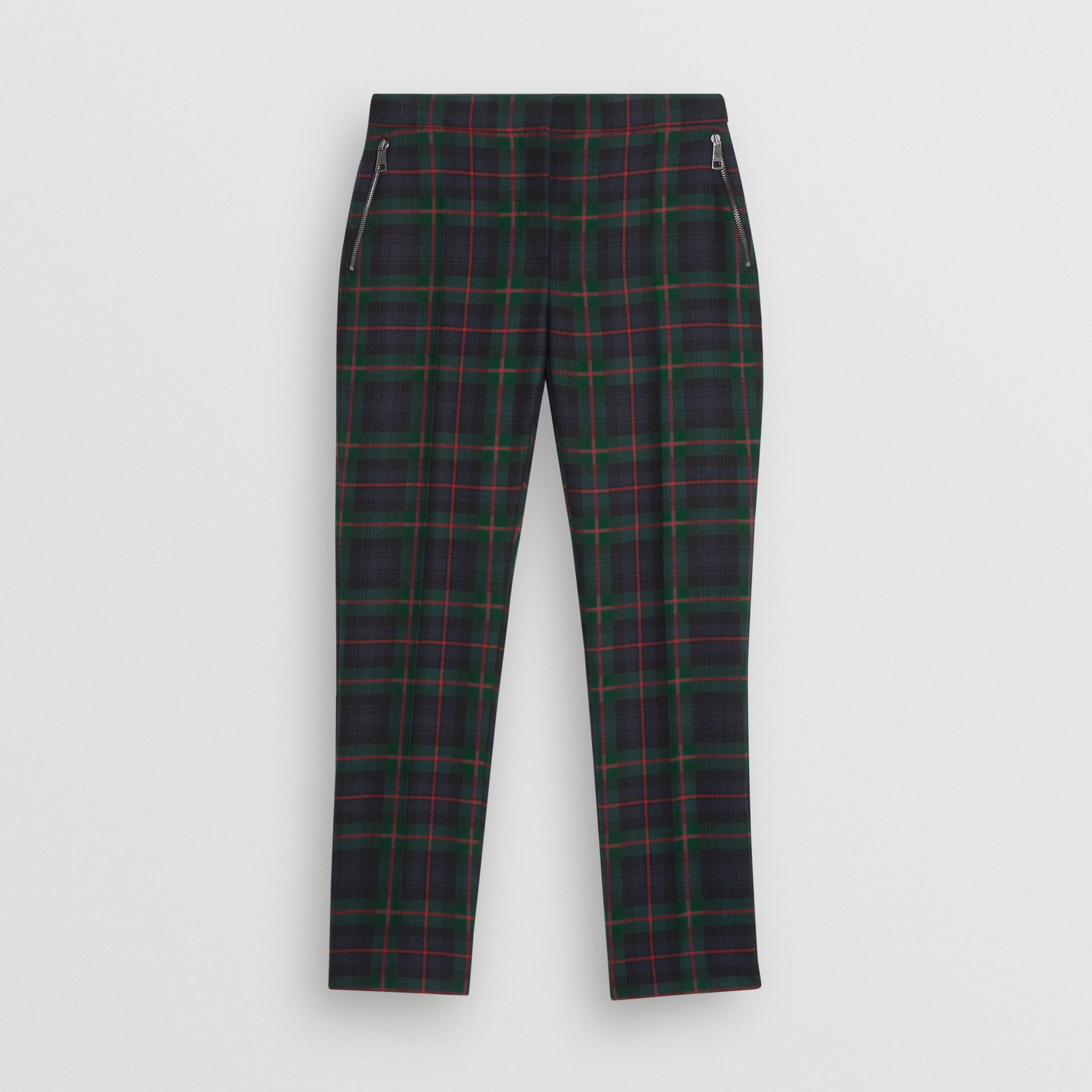 Zip Detail Check Wool Blend Trousers in Navy - Women | Burberry United Kingdom - gallery image 3