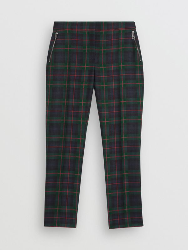 Zip Detail Check Wool Blend Trousers in Navy - Women | Burberry - cell image 3