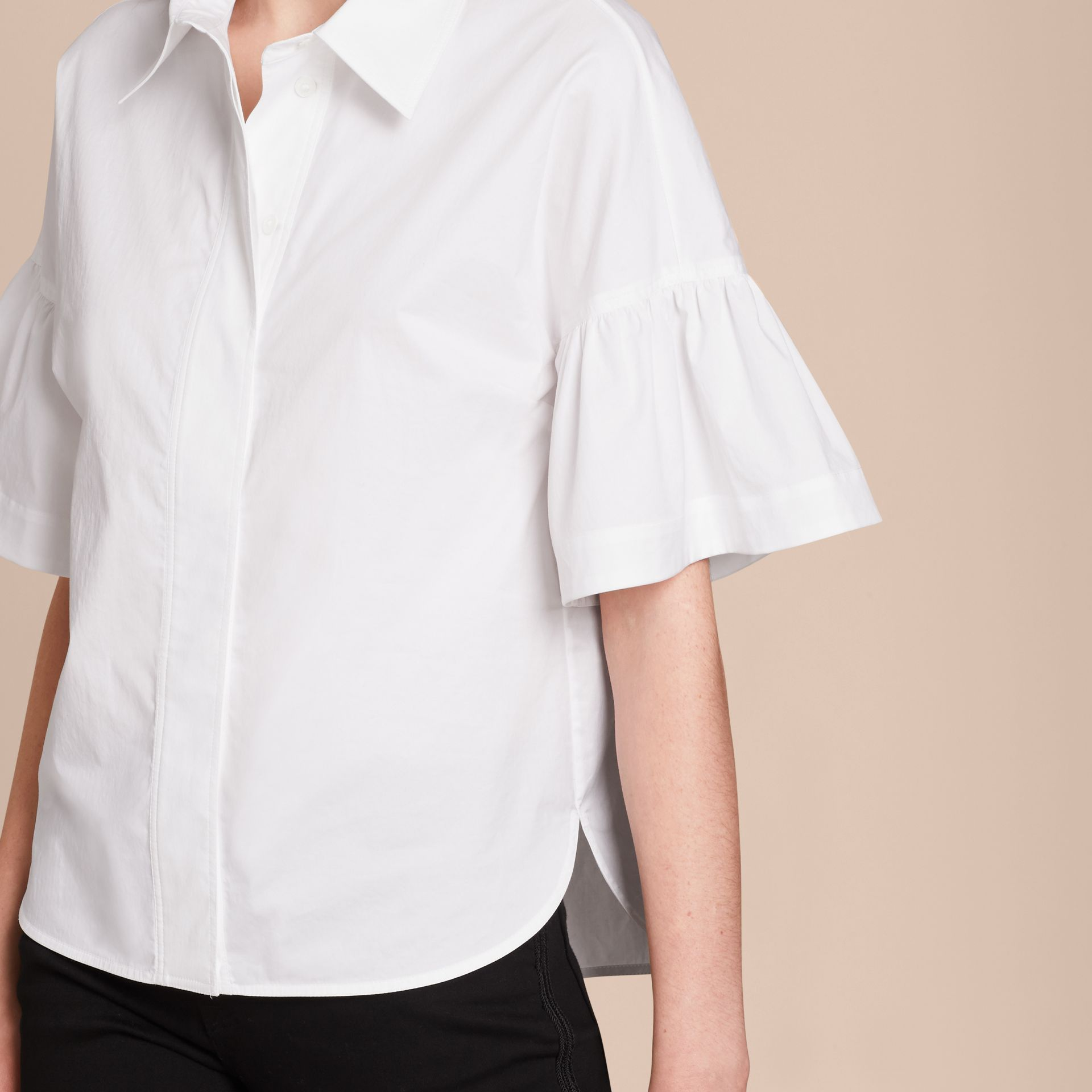 White Stretch Cotton Shirt with Ruched Sleeves White - gallery image 5