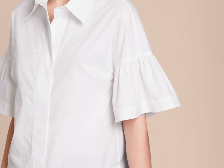White Stretch Cotton Shirt with Ruched Sleeves White - cell image 4