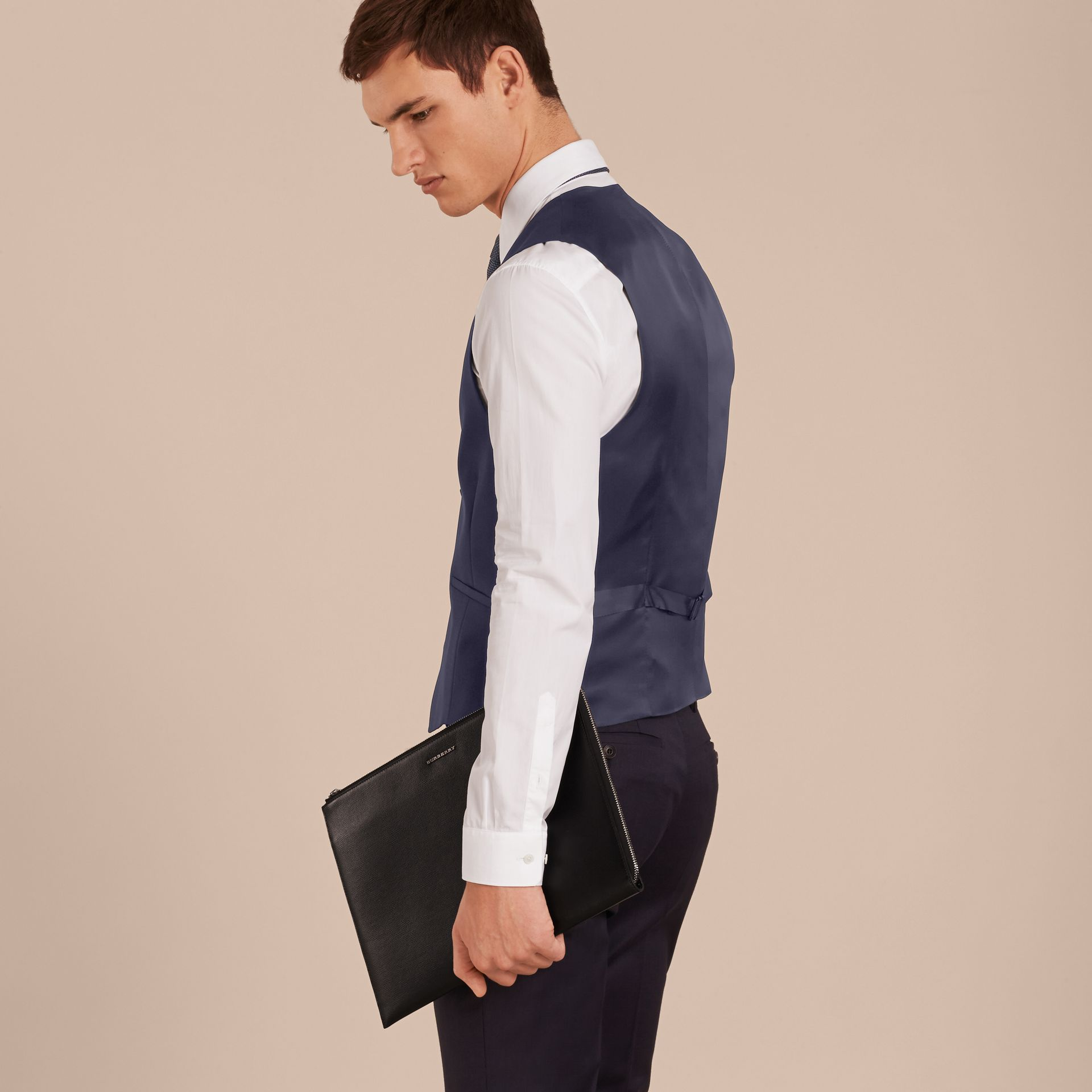 Navy Modern Fit Wool Mohair Tailored Waistcoat - gallery image 3