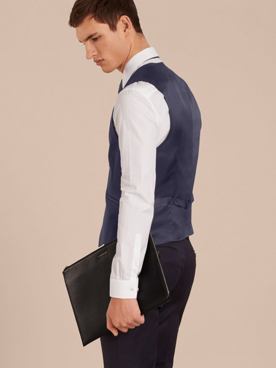 Modern Fit Wool Mohair Tailored Waistcoat in Navy - Men | Burberry Canada - cell image 2