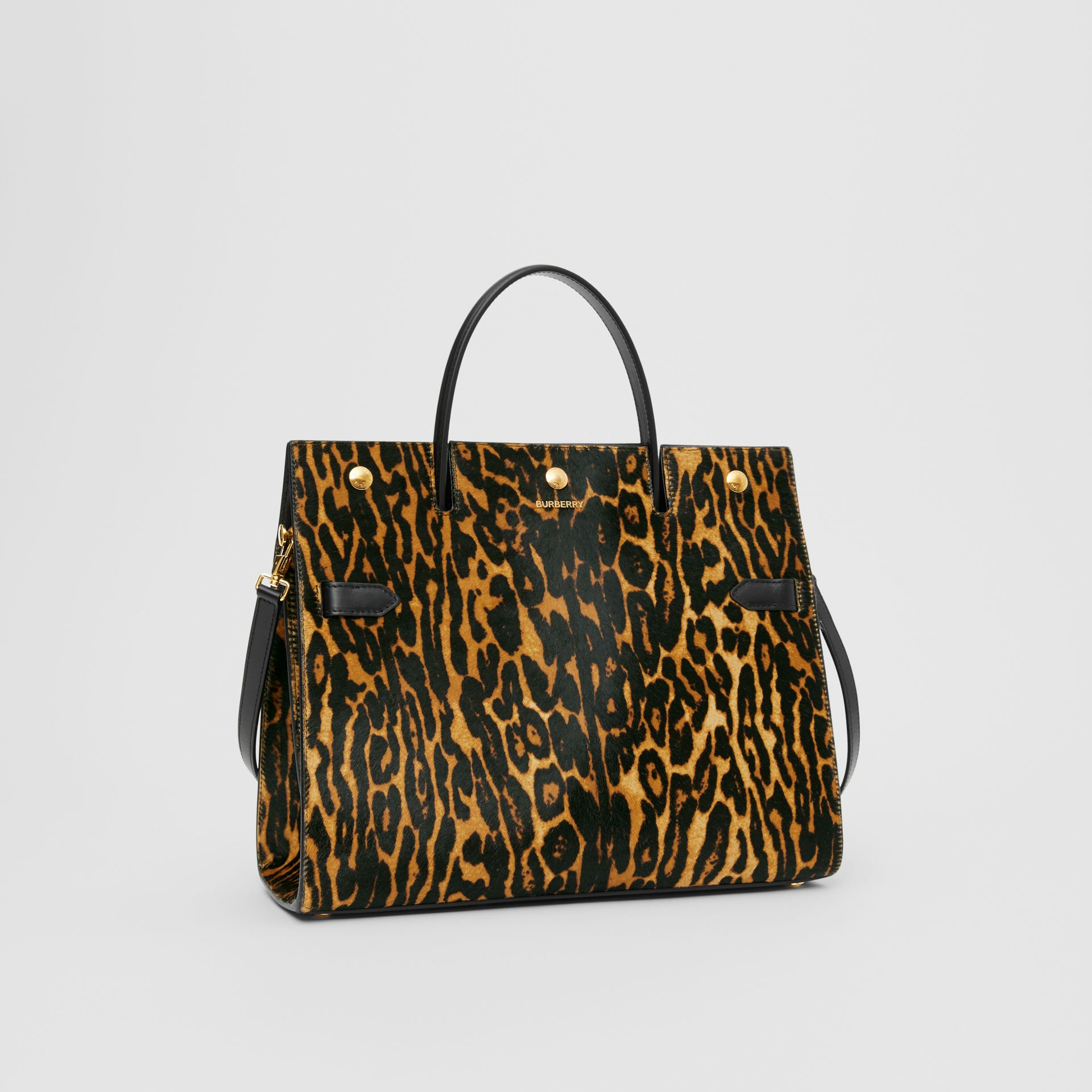 Medium Leopard Print Calf Hair and Leather Title Bag in Black - Women | Burberry United States - gallery image 4