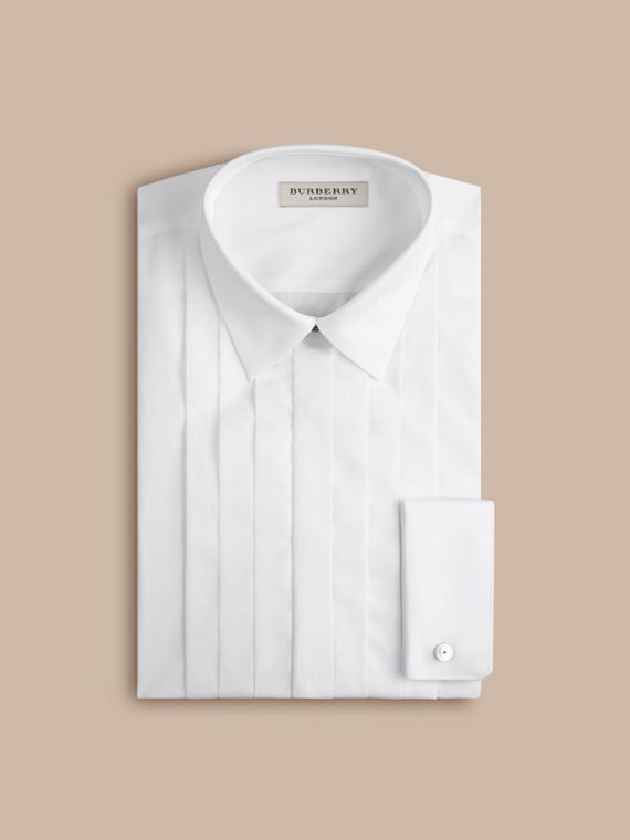 White Slim Fit Cotton Poplin Dress Shirt - cell image 2