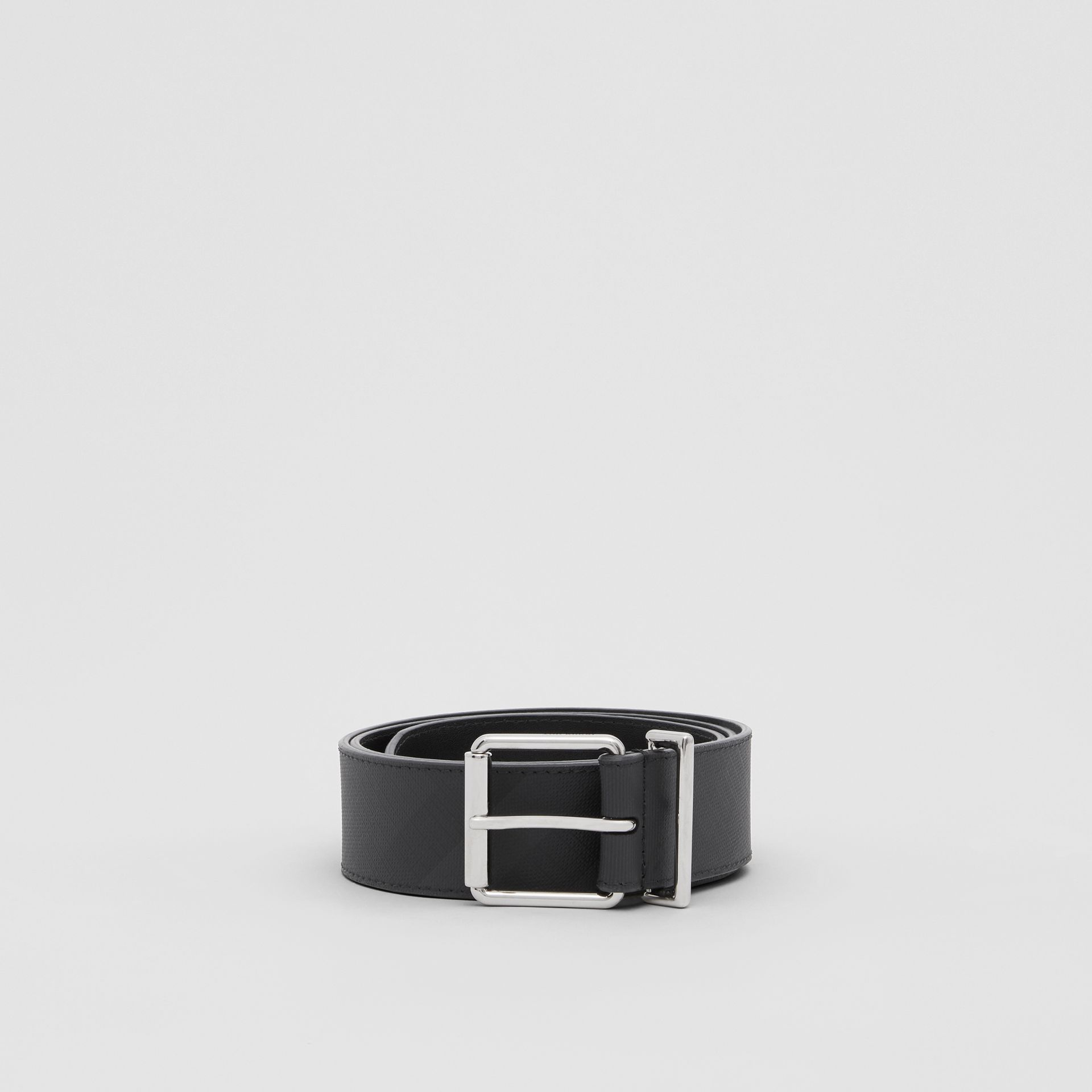 London Check and Leather Belt in Dark Charcoal - Men | Burberry United Kingdom - gallery image 2