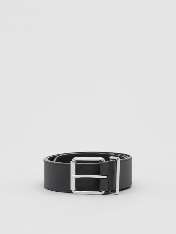 London Check and Leather Belt in Dark Charcoal - Men | Burberry United Kingdom - cell image 2