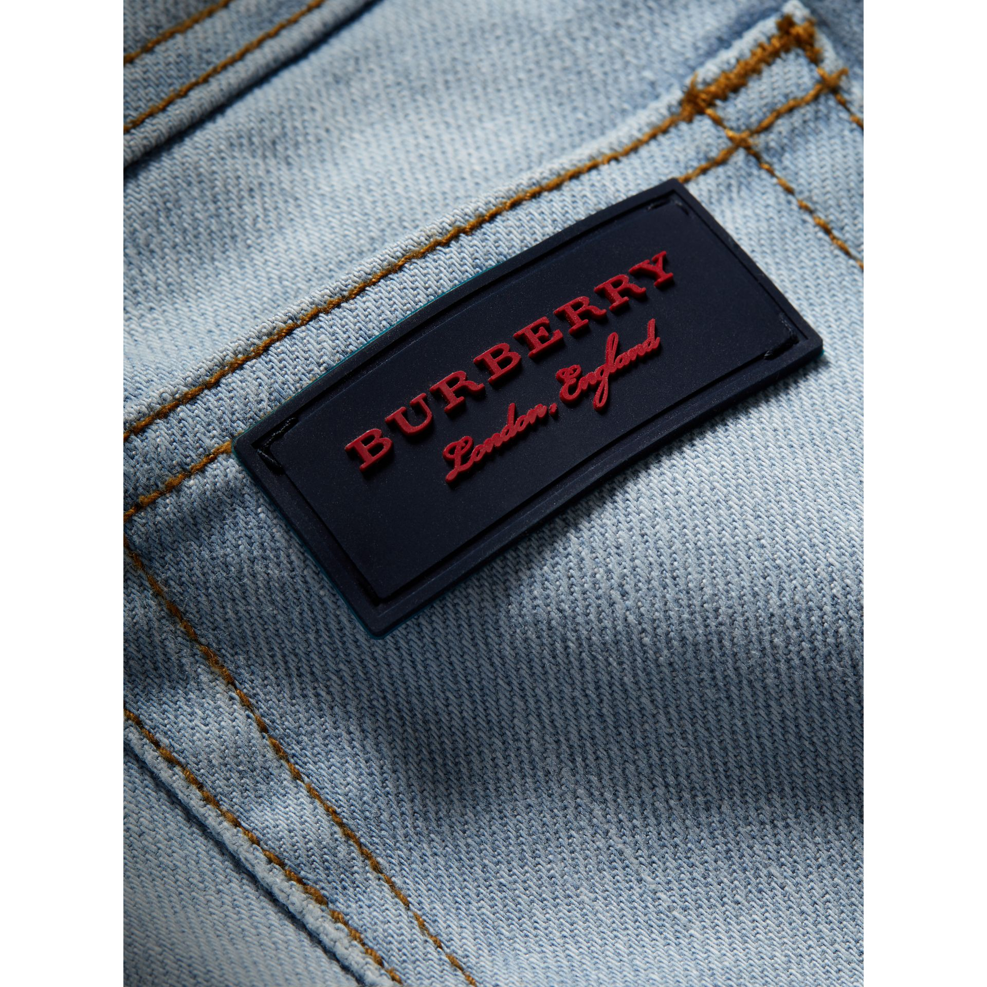 Relaxed Fit Stretch Jeans in Light Blue | Burberry - gallery image 1