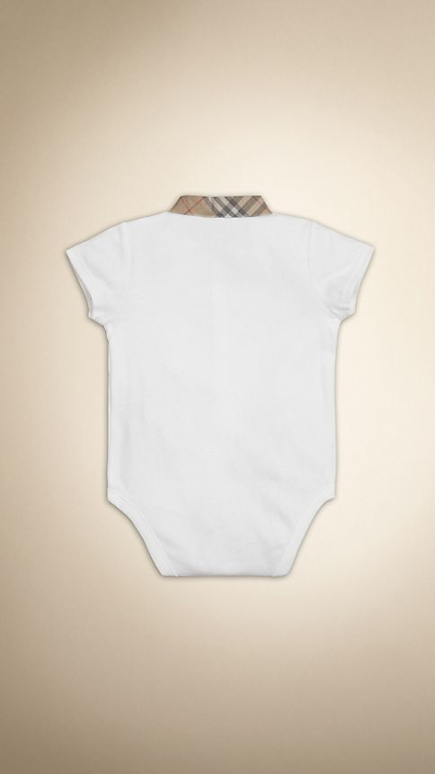 White Check Detail Cotton Bodysuit White - Image 2