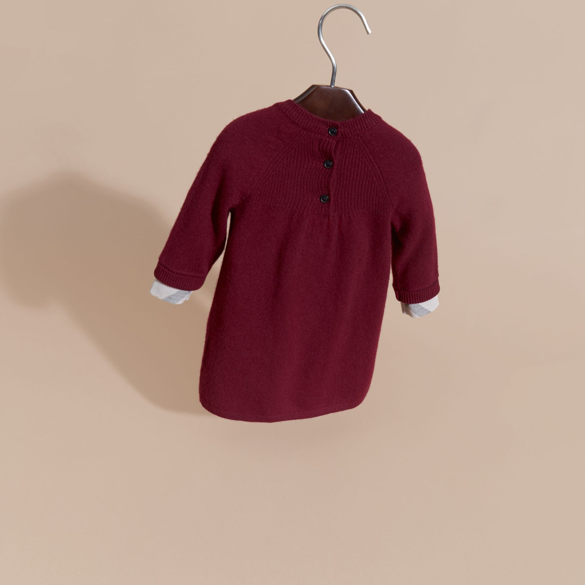 Check Cuff Knitted Cashmere Dress in Mahogany Red - gallery image 4